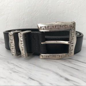 "Brighton Hard Silver Metal Leather Belt Black 39"""